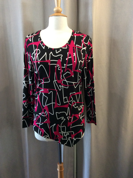Doris Streich Pink, Black & White Print Top