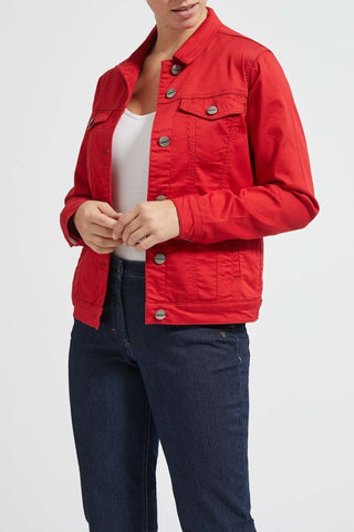 Laurie Denim Jacket in Red