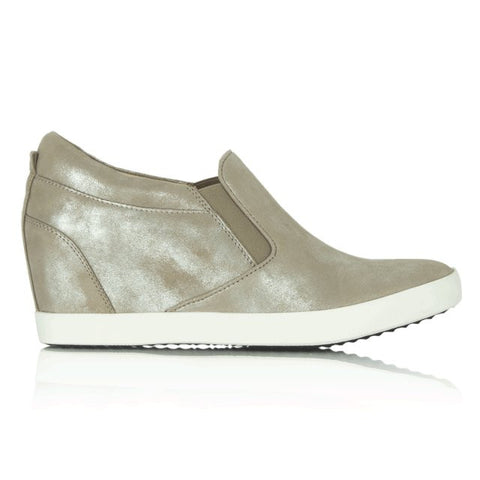 Kennel und Schmenger Liberty Wedge Leather Trainer in Taupe Silver