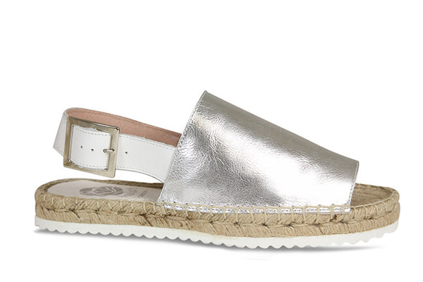 Lisa Kay Francine Espadrilles in Silver Leather