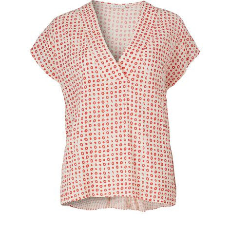 Masai Effie Top in Poppy Red and Cream