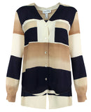 Joseph Ribkoff Tan & Navy Blouse