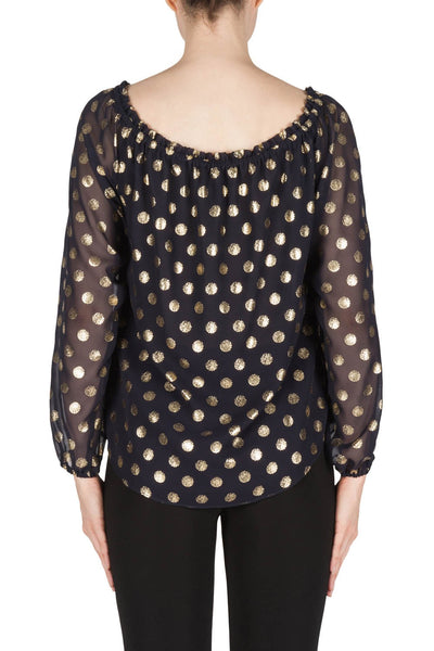 Joseph Ribkoff  Navy Spotted Top