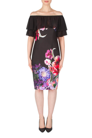 Joseph Ribkoff Black Floral Dress