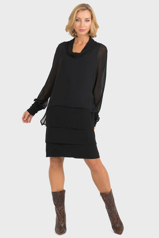 Joseph Ribkoff Cowl Neck Dress in Black