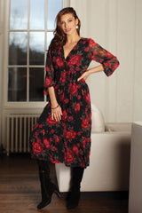 Pomodoro Red Floral Dress