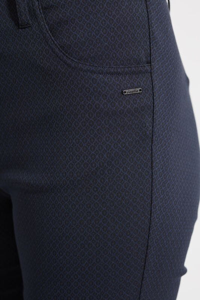 Laurie Grace Slim Trousers in Black & Blue Print