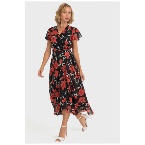Joseph Ribkoff Floral Dress in Black & Red
