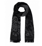 Claudia Strater Floral and Animal Print Shawl Scarf in Black