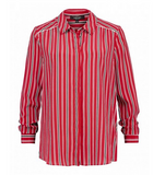 Claudia Strater Striped Silk Blouse in Red