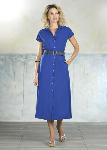 Tinta Style Shirt Dress in Royal Blue