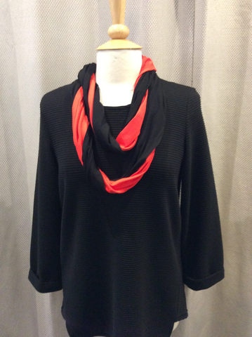 Doris Streich Black & Red Snood Scarf
