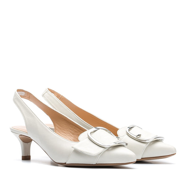 Unisa Leather Slingback in Ivory