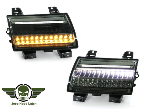 2018-2021 Jeep Wrangler JL / 2019-2021 Gladiator JT Clear or Smoke or Black White LED Front DRL Daytime Running Light with Sequential Amber LED Turn Signal Lamp Made by JHL