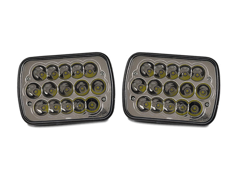 Full LED High and Low Beam Plug and Play 7x6 H6054 Sealed Beam Headlight New Pair Set-Lighting-USR-HL-H7x6LED x1P-Jeep Hood Latch