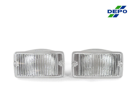 1996-2006 Jeep Wrangler TJ Clear or Smoke Front Bumper Turn Signal Light Made by DEPO-Lighting-DEPO-BL-JP-TJ-97-CLR-Jeep Hood Latch