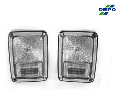2007-2018 Jeep Wrangler JK Clear or Smoke Rear Tail Light Set Made by DEPO-Lighting-DEPO-TL-JP-JK-07-CLR-Jeep Hood Latch