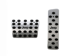 Jeep Engraved Racing 2 Pieces Aluminum with Rubber Insert Pedals Set for Jeep Wrangler - Automatic Transmission