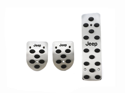 Jeep Engraved Racing 3 Pieces Aluminum with Rubber Insert Pedals Set for Jeep Wrangler - Manual Transmission