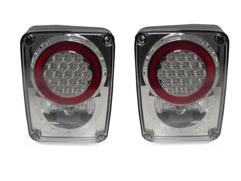 2007-2018 Jeep Wrangler JK Clear Lens/Chrome or Smoke Lens/Black Housing LED Rear Tail Light Set Made by DEPO-Lighting-DEPO-TL-JP-JK-07-DP-LED-C1-Jeep Hood Latch