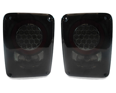 2007-2018 Jeep Wrangler JK Clear Lens/Chrome or Smoke Lens/Black Housing LED Rear Tail Light Set Made by DEPO