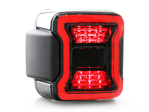 2018-2021 Jeep Wrangler JL Rubicon Style Smoke Full LED Rear Tail Light with Light Bar Set Made by JHL
