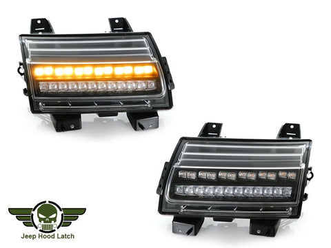 2018-2021 Jeep Wrangler JL / 2019-2021 Gladiator JT Clear or Smoke or Black White LED Front DRL Daytime Running Light with Sequential Amber LED Turn Signal Lamp Made by USR