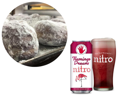 Cherry with Buttercream Filled Powdered Sugar Donut & Flamingo Dreams Nitro by Left Hand Brewery