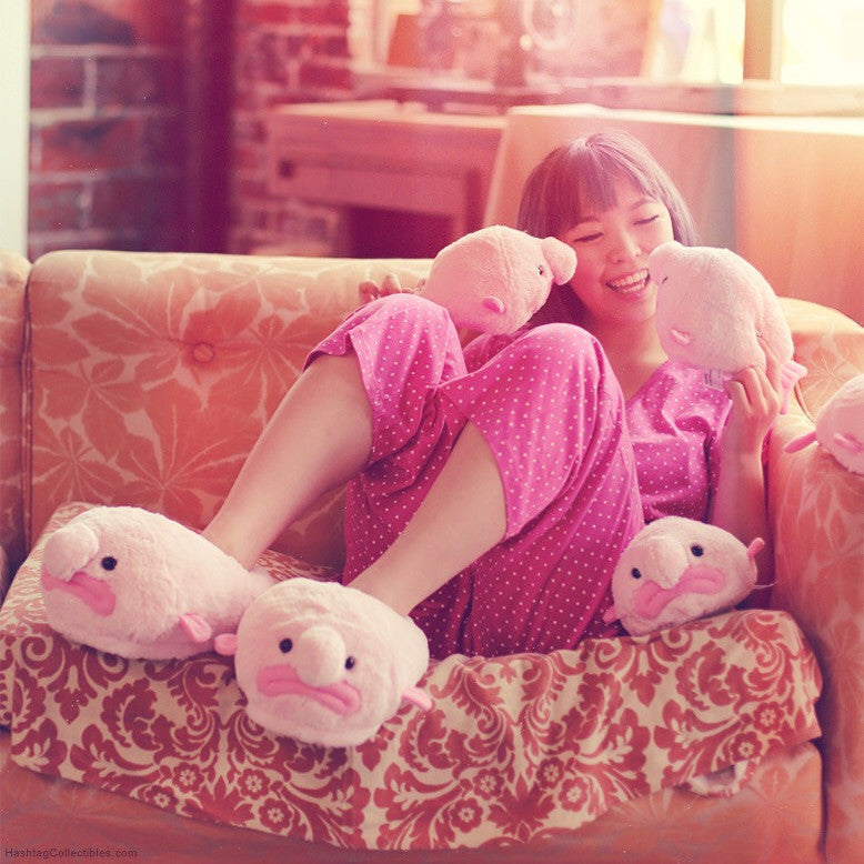 Blobfish plush slippers