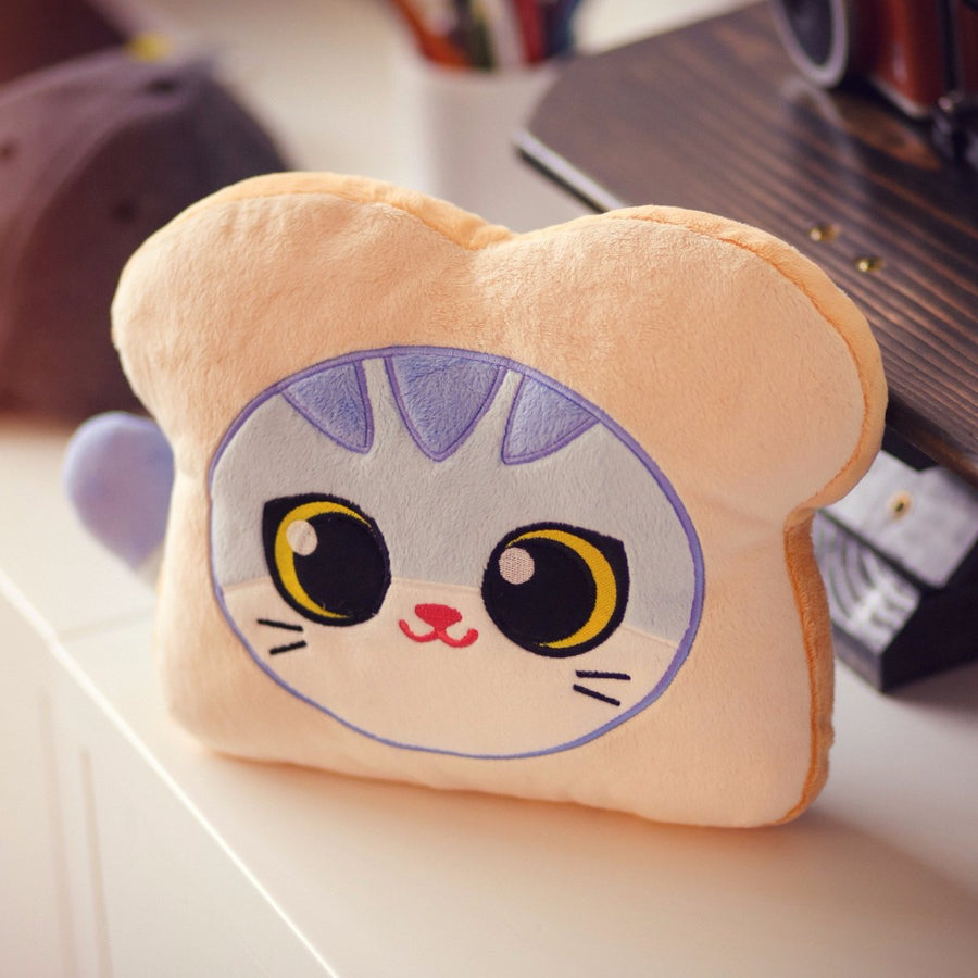 Cat Bread pillow - front view
