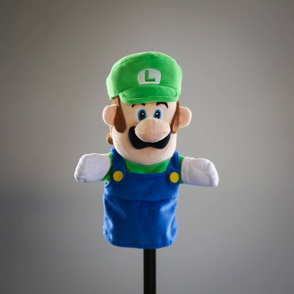 Super Mario Bros: official Luigi puppet (frontal view)