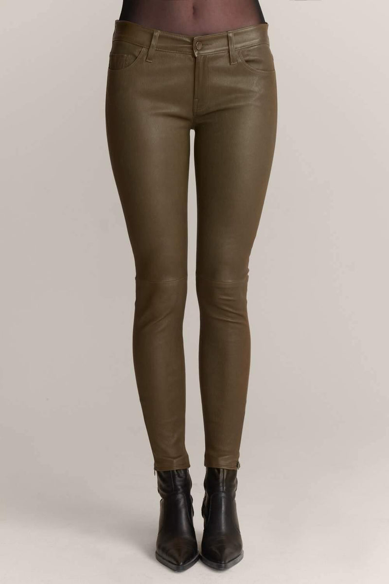 Leather Olive Skinny Jeans - JSP Ready