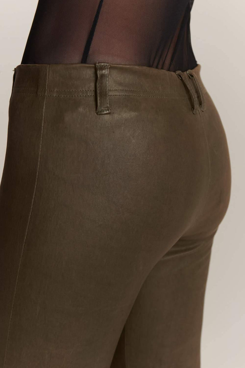 Stretch-Leather Olive Leggings - JSP Ready