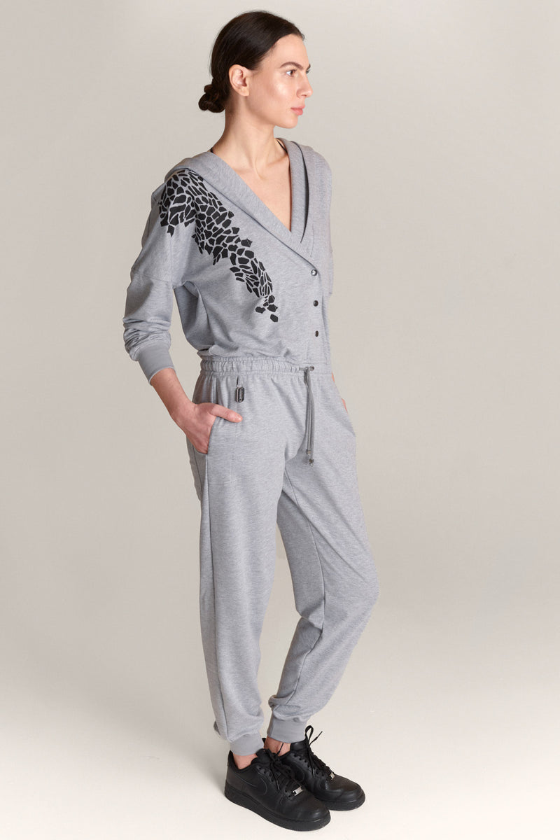 Hoodied Jumpsuit Grey