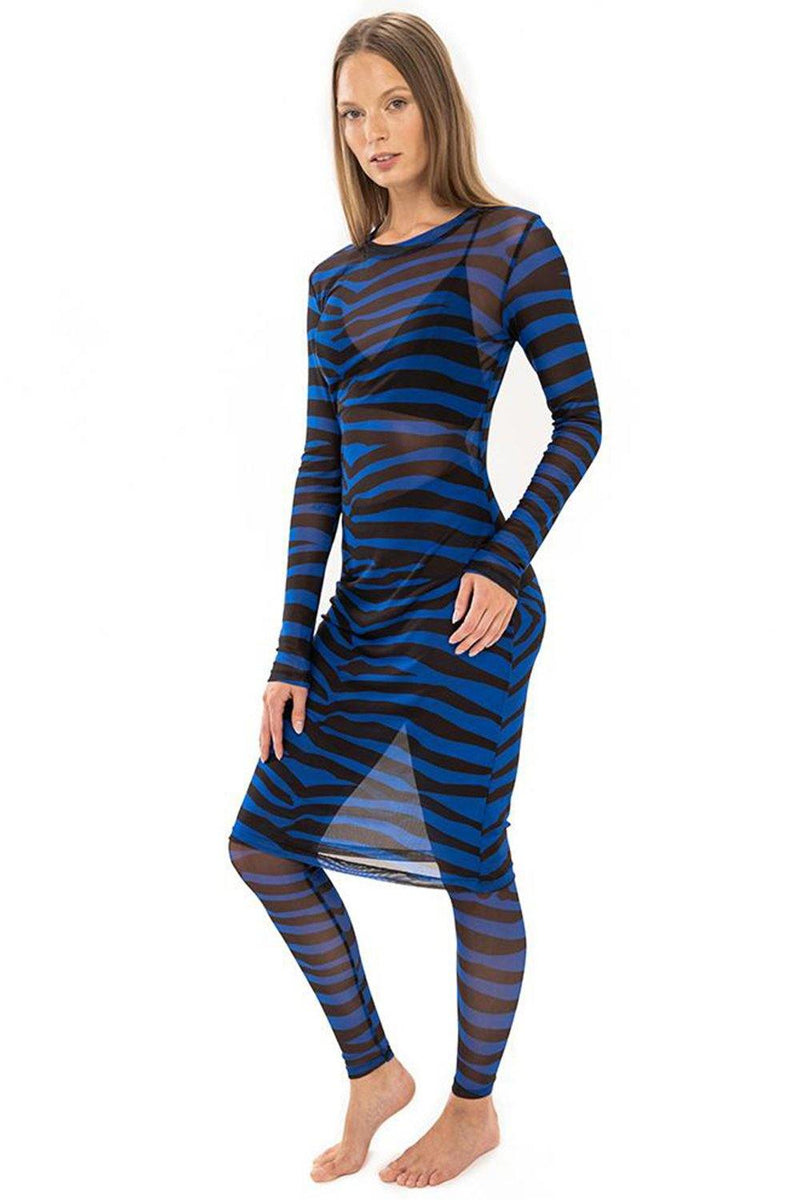 Zebra Royal Blue Mesh Tunic - JSP Ready