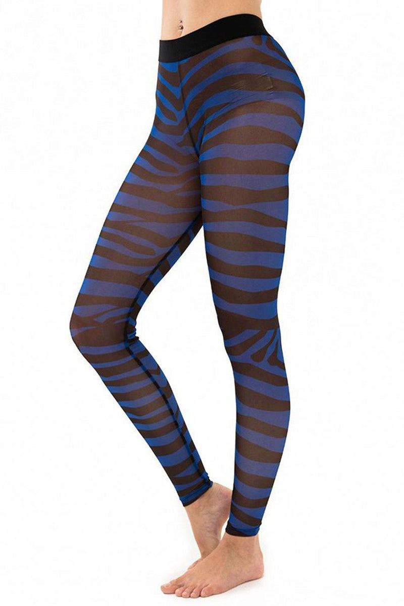 Zebra Royal Blue Mesh Leggings - JSP Ready