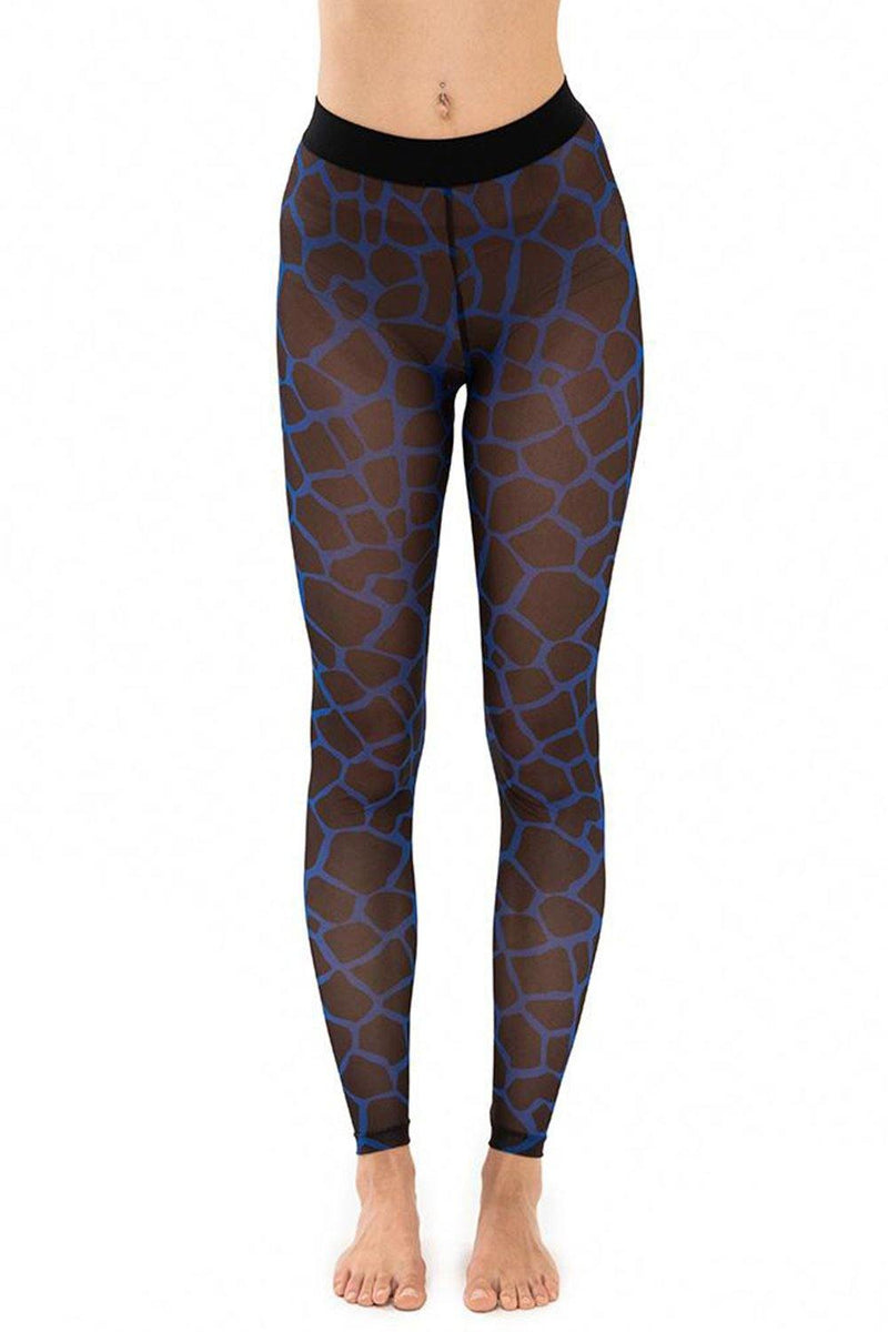 Giraffe Royal Blue Mesh Leggings - JSP Ready