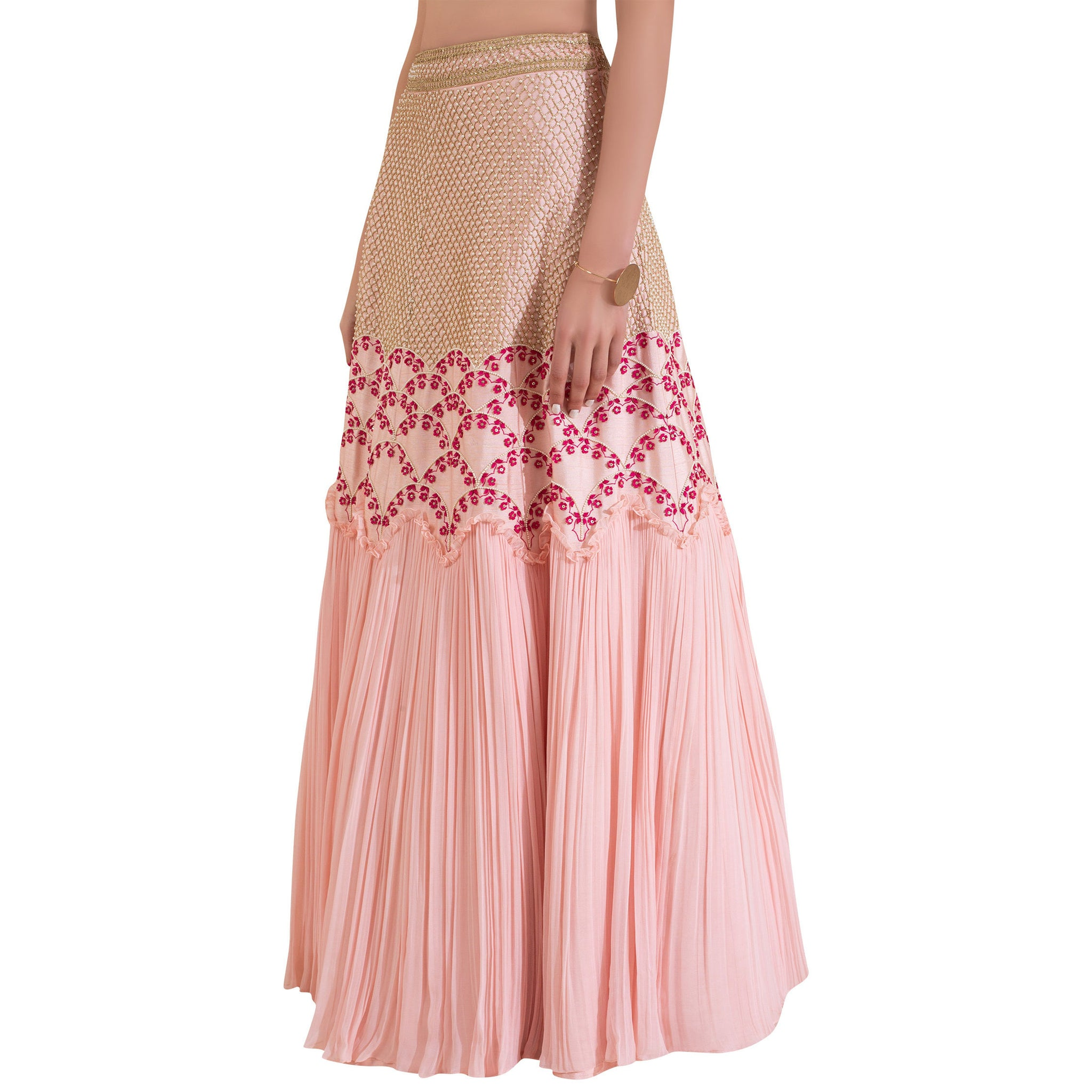 Embroidered Ruffle Blouse with Embroidered Lehenga with Pleats