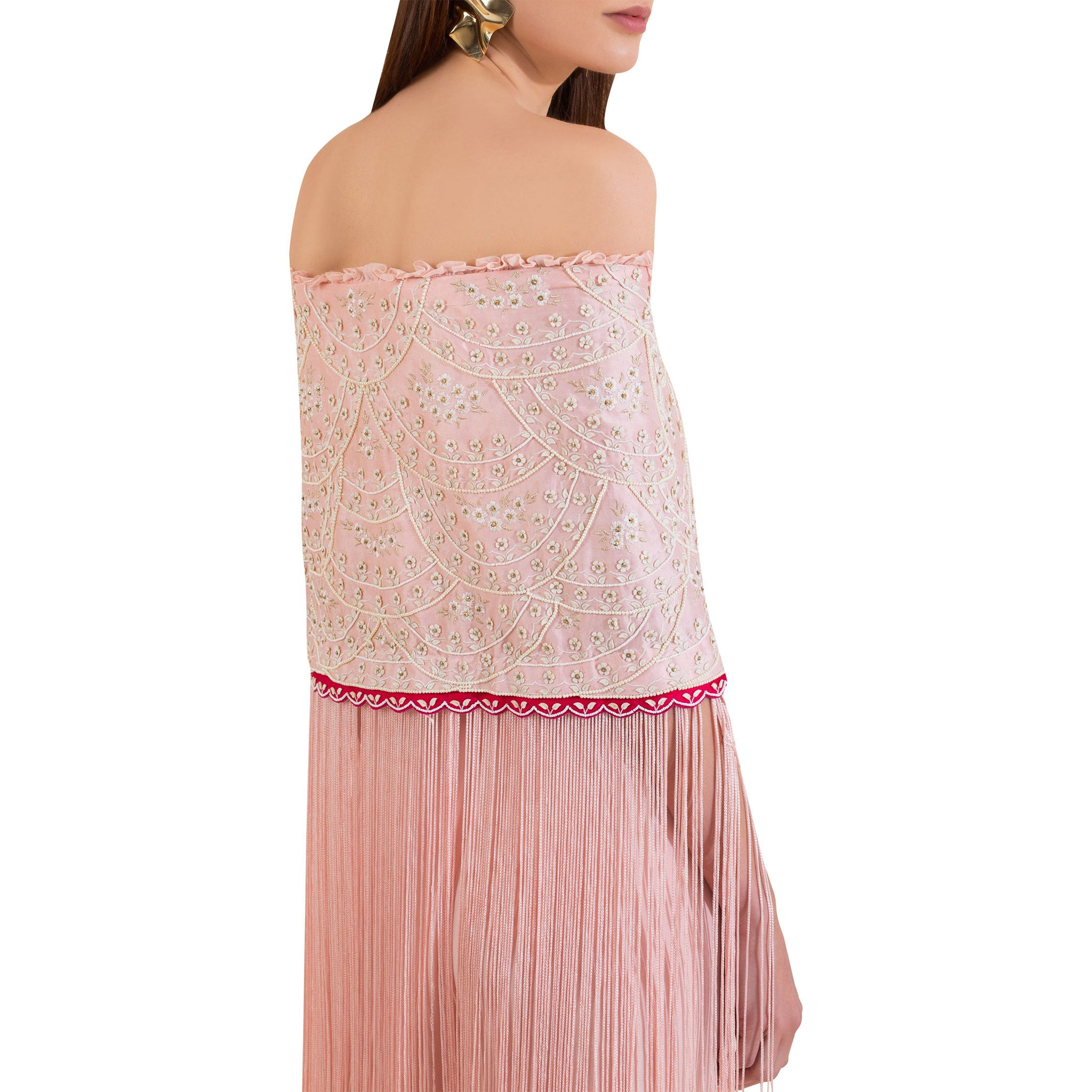 Embroidered Fringed Details Top with Layered Palazzo Pants