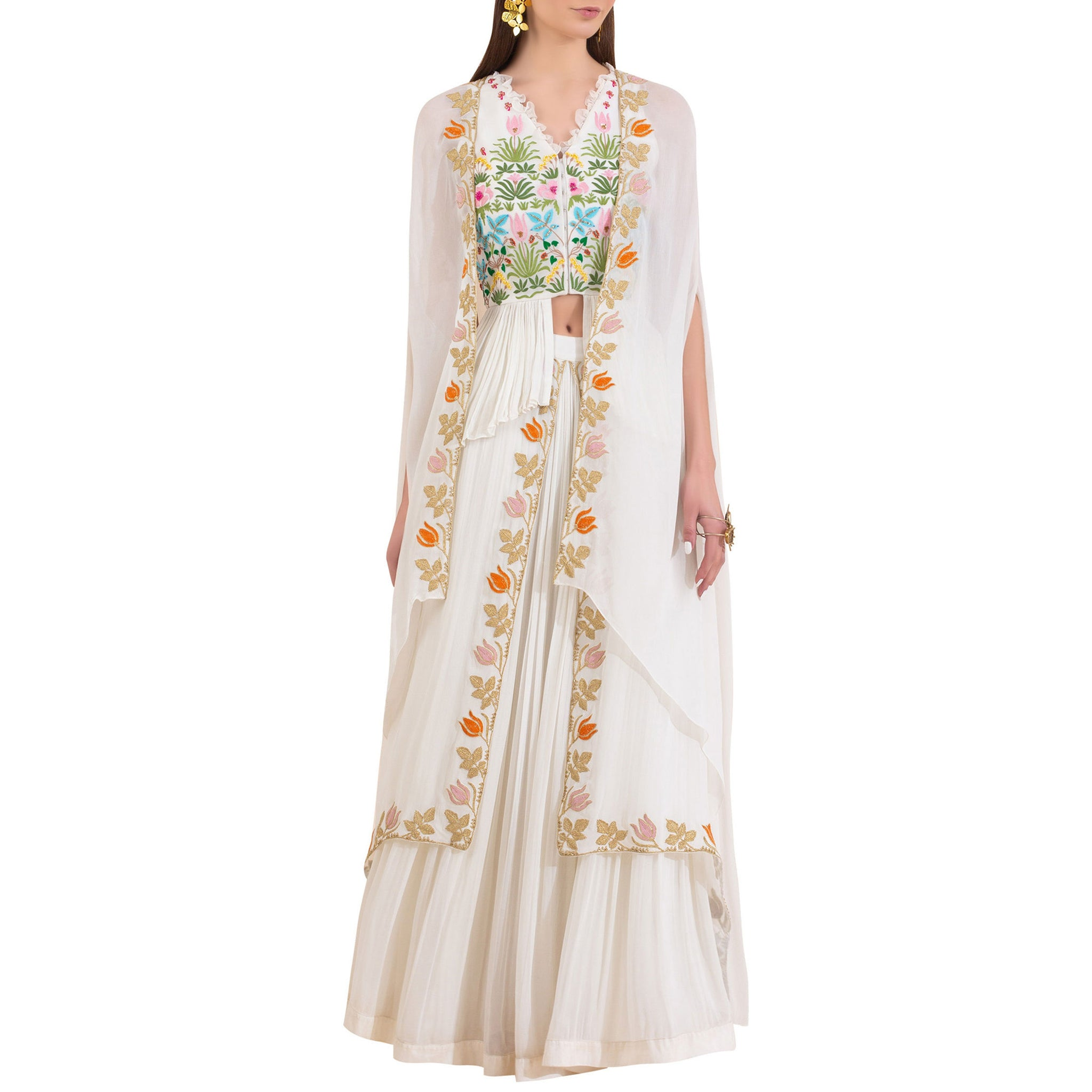 Embroidered Peplum Top and Asymmetric Hem Cape with Layered Lehenga