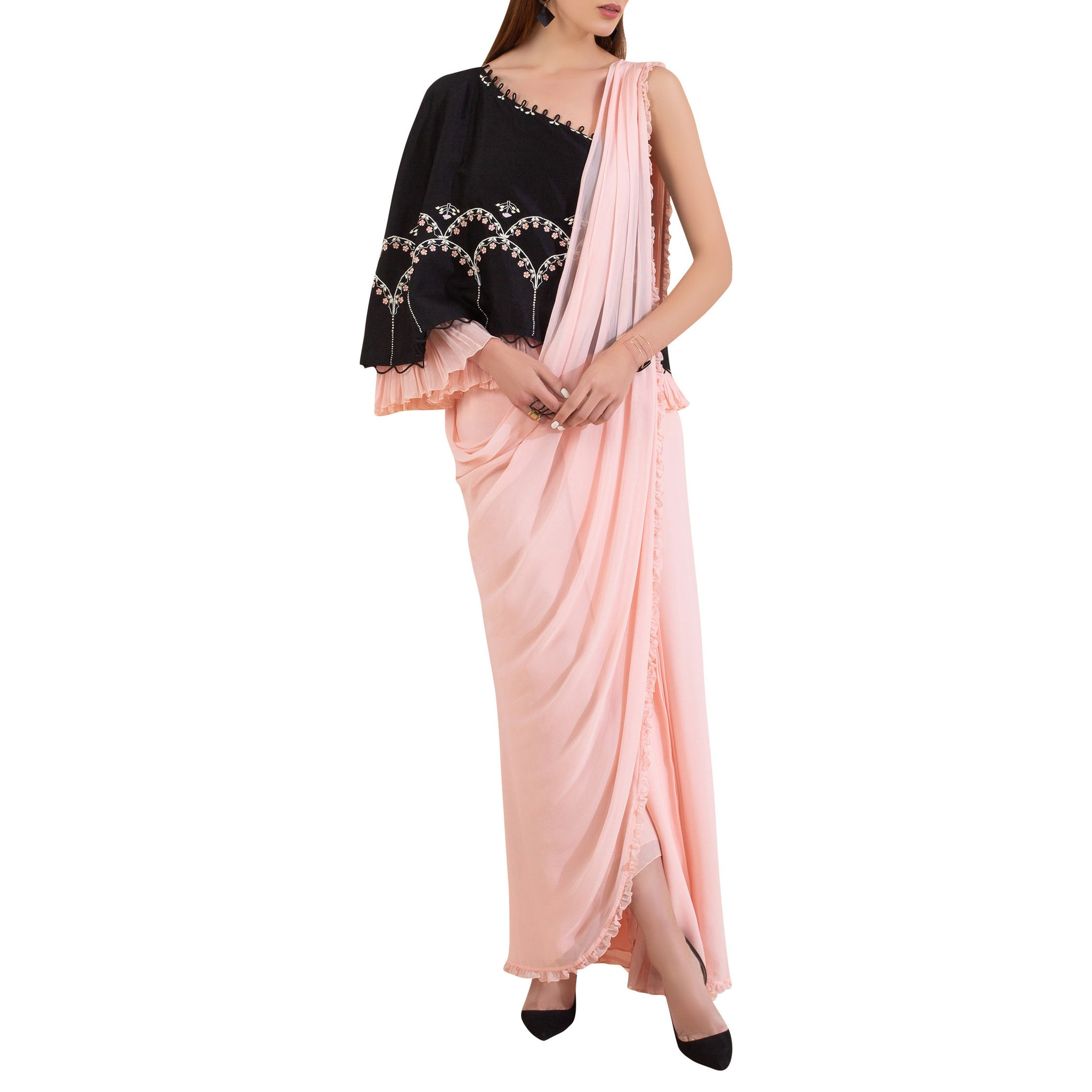 Embroidered Pre-Draped Cape Sari