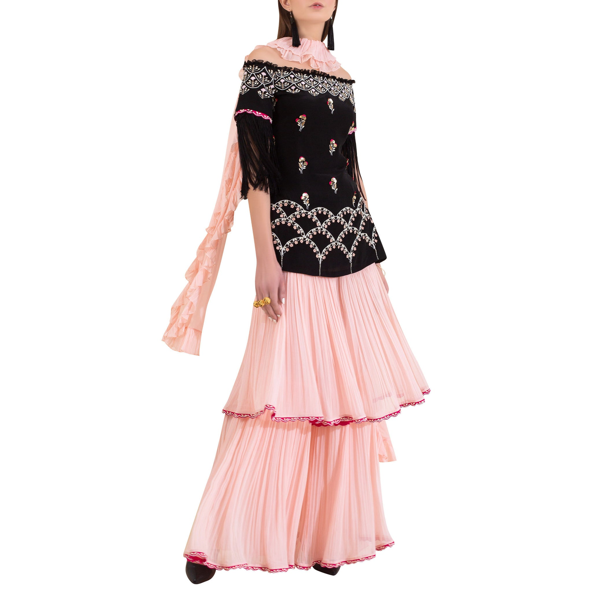 Embroidered Off-Shoulder Kurta with Layered Palazzo and Ruffle Dupatta