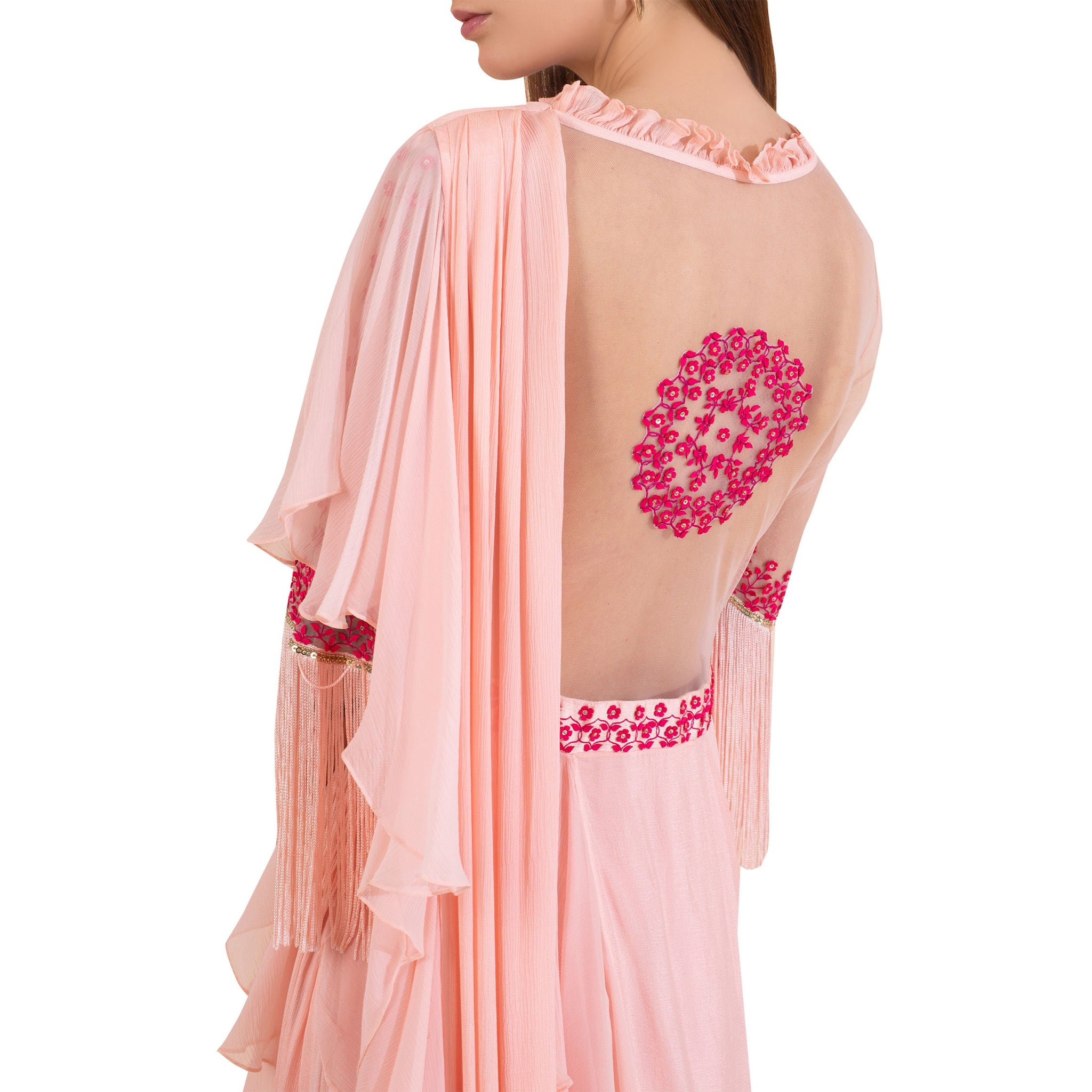 Embroidered Pre- Draped Sari Gown