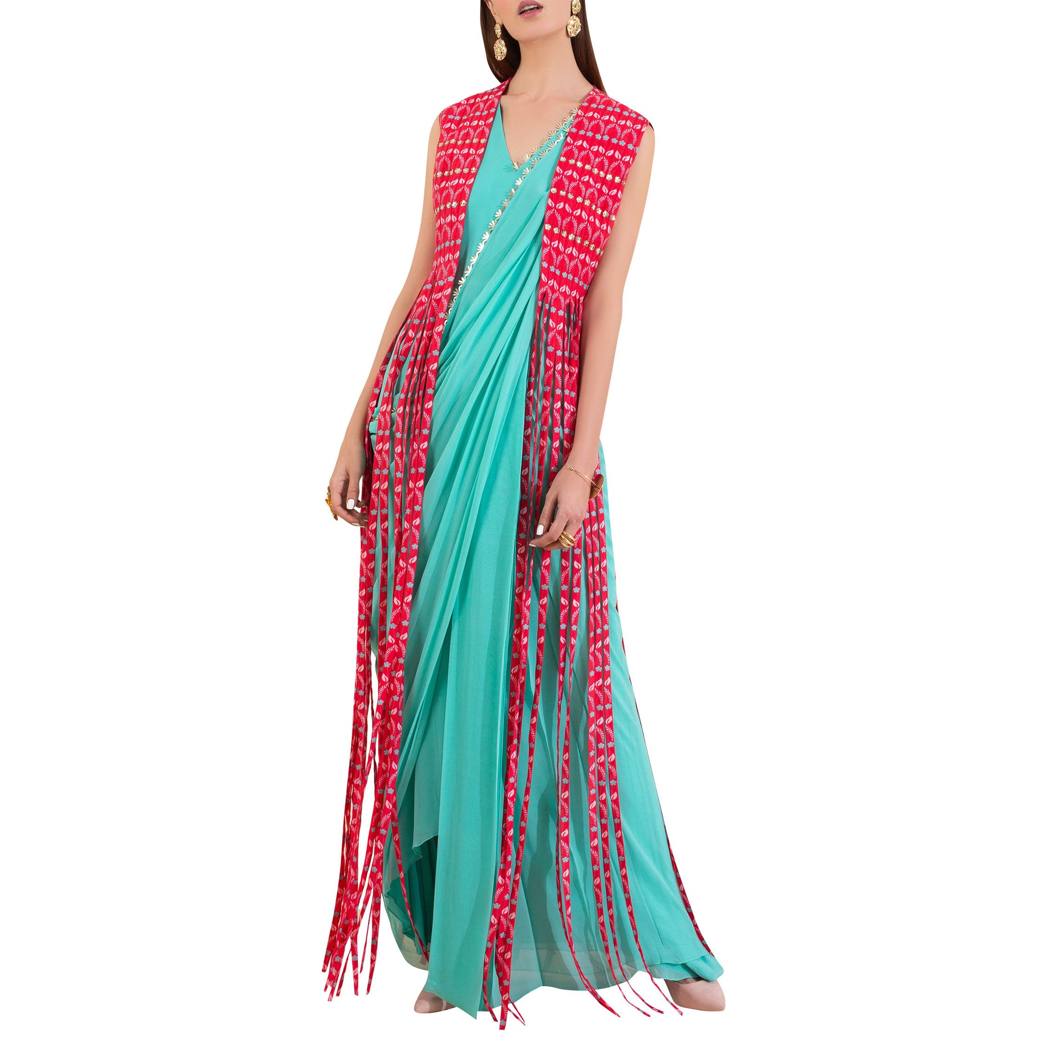 Pre Draped Sari with Fringed Jacket
