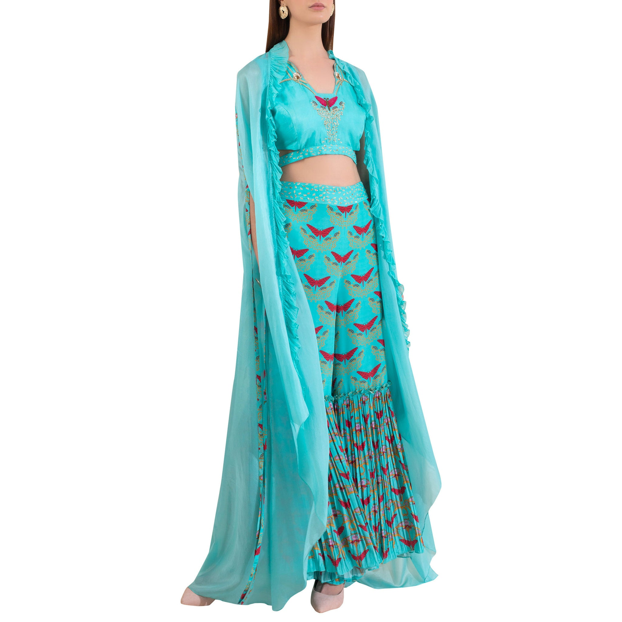 Embroidered Blouse with Cape & Sharara
