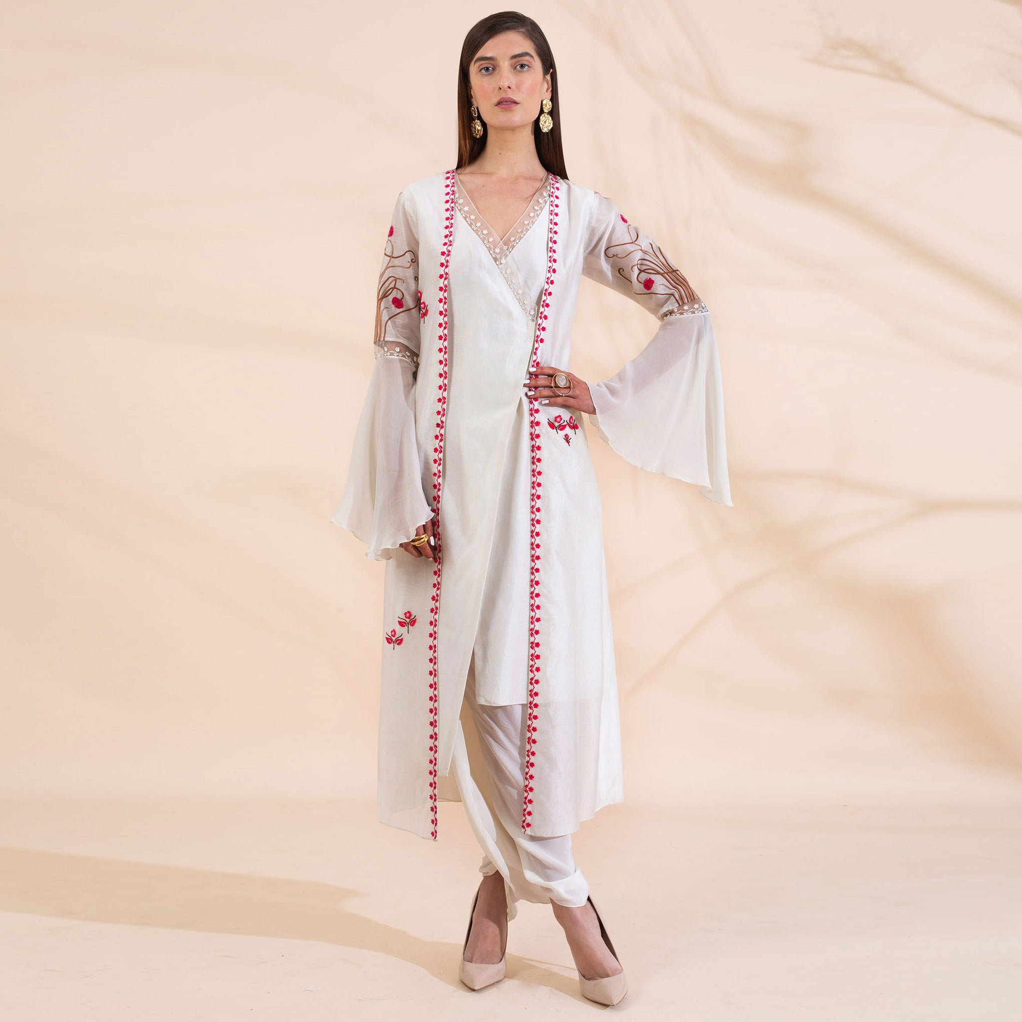 Embroidered Asymmetric Kurta Attached with Long Jacket Paired with Dhoti Pants