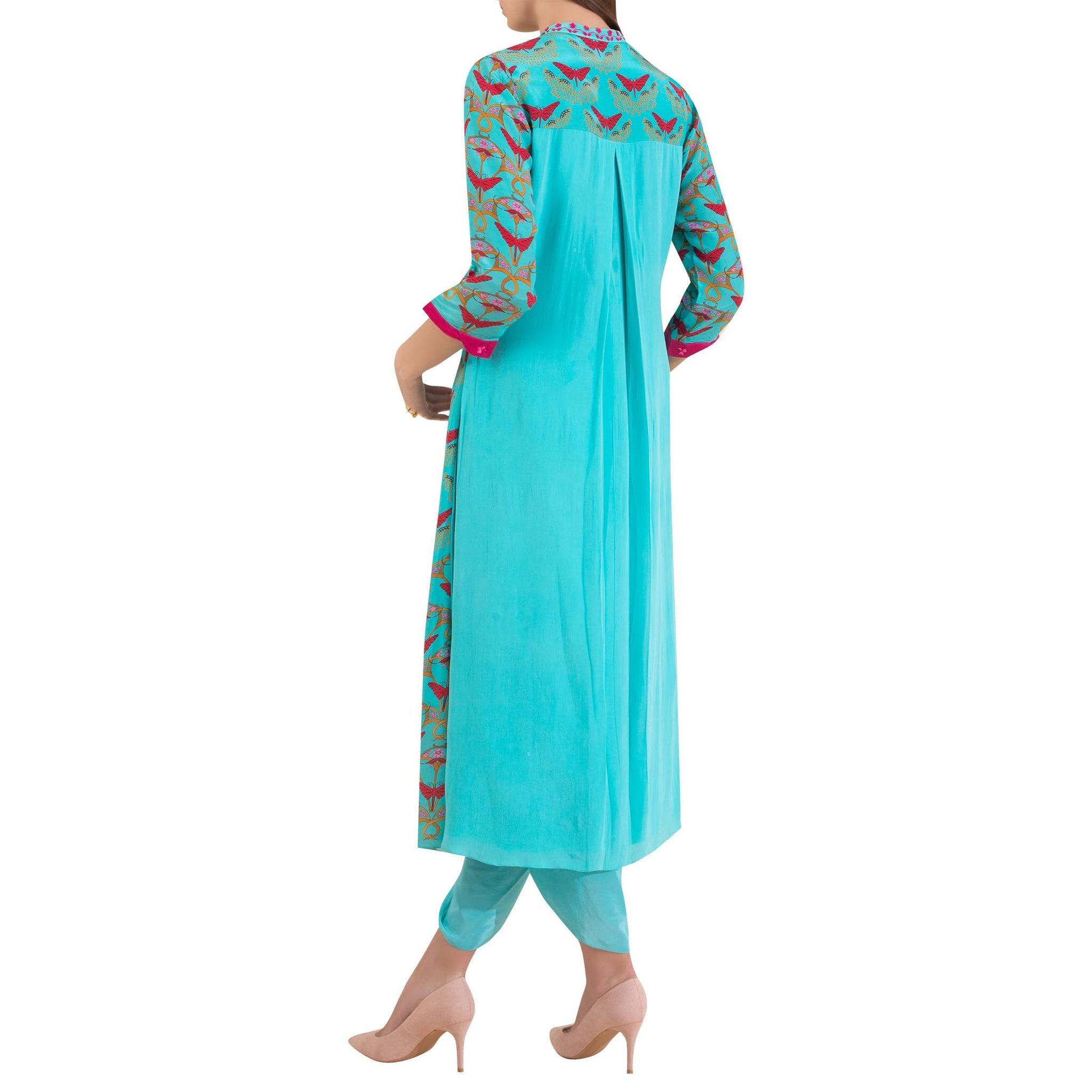 Embroidered Kurta with Attached Jacket and Dhoti Pants