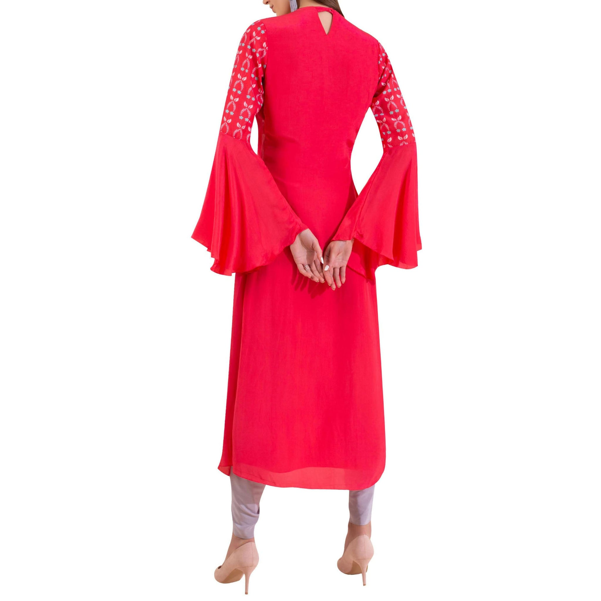 Embroidered Draped Kurta with Dhoti Pants