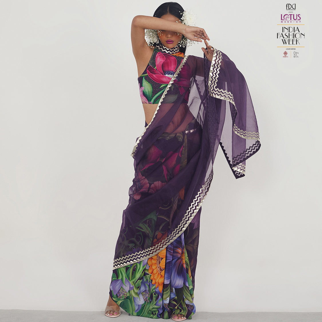 Embroidered Half and Half Sari