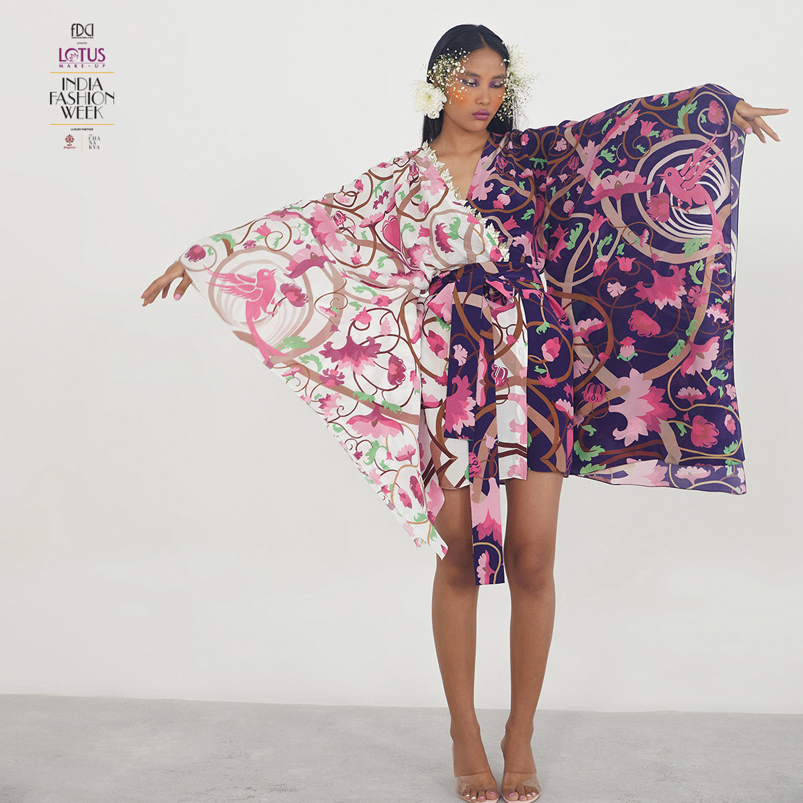 Embroidered Printed Kaftan